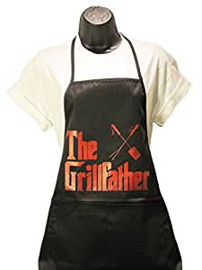 """Black Apron in Red Silk Screen-""""Grill Father"""" -No Sales Tax"""