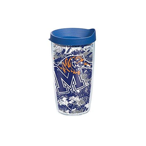 Tervis Memphis University Splatter Wrap Tumbler with Blue Lid, 16 oz, Clear (Memphis 16 Ounce Tumbler)