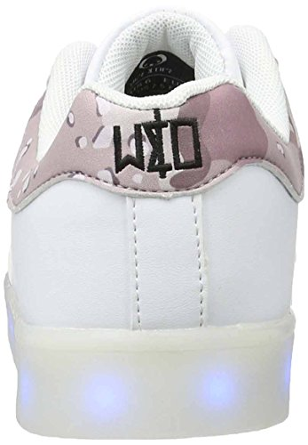 wize & ope Led-01-cam2, Sneaker Basse Unisex - Adulto Weiß (White/Camo)