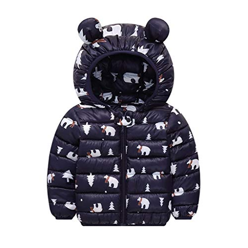 Goddesslili Winter Coats for Baby Boys Girls 0-7 Years, 2019 New Cute Bear Ear Full Cartoon Print Cozy Thick Zipper Outwear Black