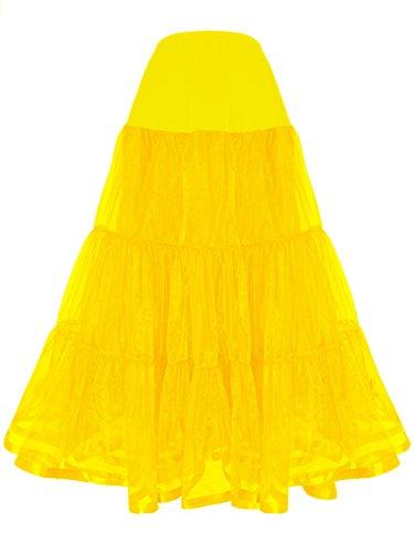 Shimaly Women's Floor Length Wedding Petticoat Long Underskirt for Formal Dress (XL-3XL, Yellow) ()
