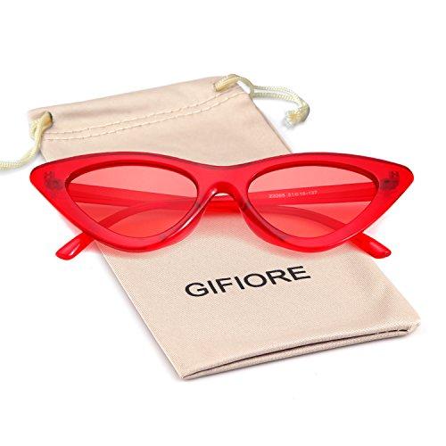 Clout Goggles Cat Eye Sunglasses Vintage Mod Style Retro Kurt Cobain Sunglasses (Transparent Red, 51) -