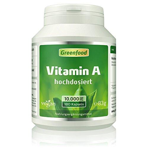 Vitamin A, 10000 iE, extra hochdosiert, 180 Vegi-Kapseln – das Augenvitamin, für gutes Sehvermögen. Besonders wichtig bei Bildschirmarbeit. OHNE künstliche Zusätze. Ohne Gentechnik. Vegan.