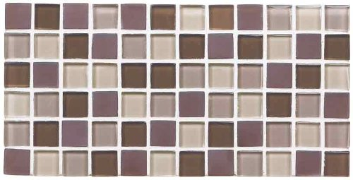 ICJ 99125 12-Inch by 12-Inch Brown and Tan Glass Mosaic Wall Tile