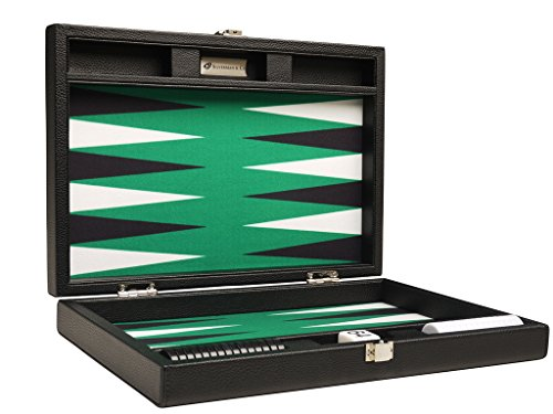 Silverman & Co. 13-inch Premium Backgammon Set - Travel Size - Black Board, Green Playing Surface, Black and White Points