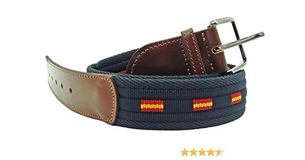Pi2010 Cinturón marino con banderas de España, terminaciones en piel: Amazon.es: Ropa y accesorios
