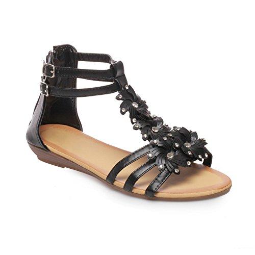 Waldläufer Hilena - Sandalias de vestir de cuero nobuck para mujer, color negro, talla 36