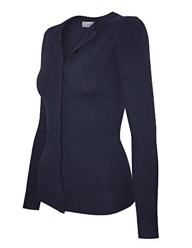 Cielo Women's Solid Basic Soft Stretch Shank Button Sweater Cardigan,Sw650 / Navy,Medium