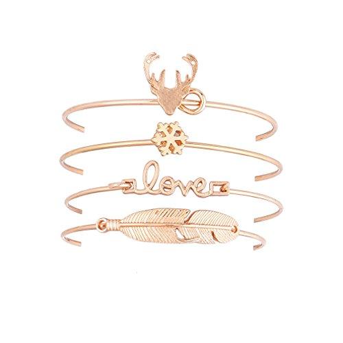 Dolland 6PCS Stackable Open Cuff Bracelet Leaf Deer Head LOVE Snowflake Bangle Set for Women Girls Gifts