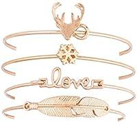 OrliverHL Women Girls Lovely Multilayer Christmas Leaf Deer Snowflake Pendant Bracelet Bangle