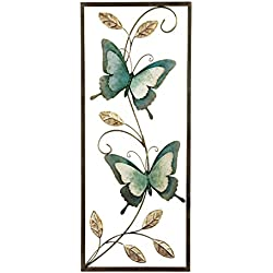 Metal Blue Butterflies Wall Art