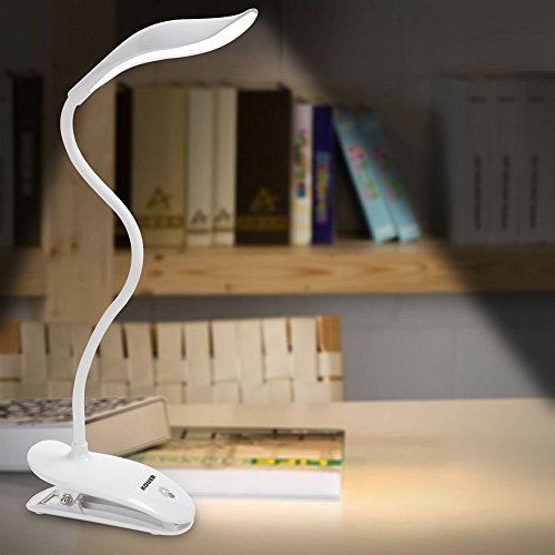 LED Desk Lamp,KOLIER Clip Light,Table Light,with 20LEDs Touch Control Bedside Reading Light,Book Light,with USB Charging Port Flexible Gooseneck Dimming Portable for Bedside(White)