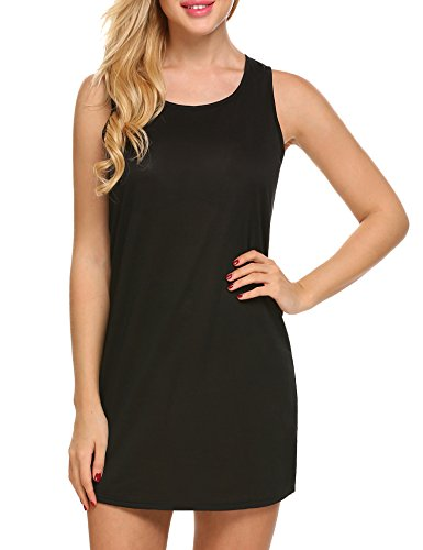 Ekouaer Women's Sleepwear Cotton Sleeveless Nightgown Chemise (Black,L)