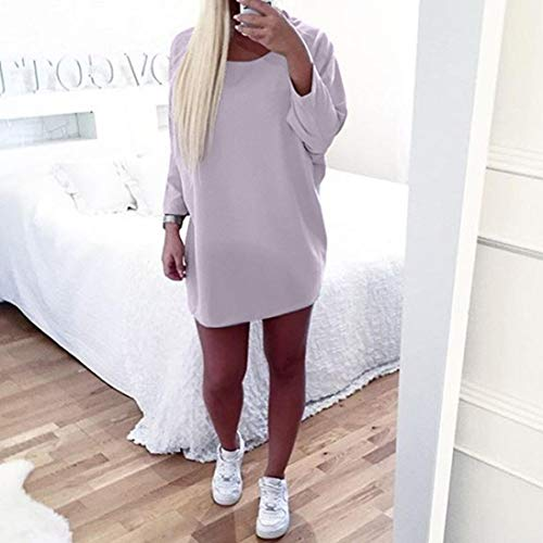 Neck Casual Gray Loose Women Dress Sleeve Round Long Dress Mini Plus Size q1wtaqS