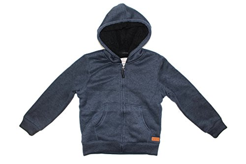 Weatherproof Vintage Boys Full Zip Sherpa Lined Hooded Jacket (Charcoal Heather, Small (Lined Zip Hoody)