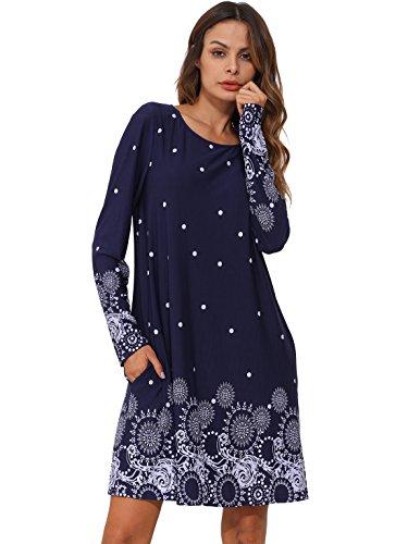 Long Sleeve Printed Tunic Dress (ROMWE Women's Loose Long Sleeve Floral Printed Casual Tunic Dress Navy L)