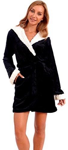 Body Candy Women's Plush Sherpa Micro Fleece Animal Ear Hooded Robe (Black, X-Large)