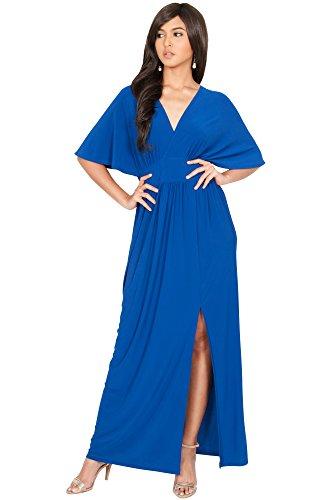 KOH KOH Womens Long Sexy Kimono Short Sleeve Slit Wrap V-neck Gowns Maxi Dress