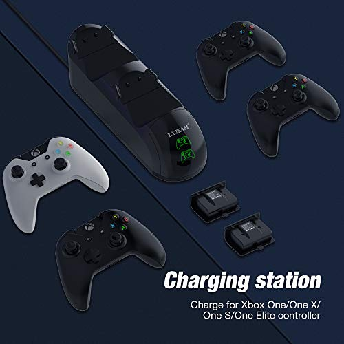 Charging Station for Xbox One, Y Team Controller Charger Station for Xbox One X/One S/One Elite, with 2 Rechargeable Battery Charge Kit