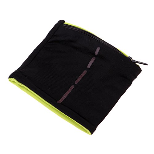Dolity Sports Wristband Zipper Workout Wallet Gym Wrist Bag Breathable Pocket Sweatband Wristband/Wrist Wallet for Running Fitness Cycling Hiking Travel Camping Sports - Black Light Green (Zipper Band)
