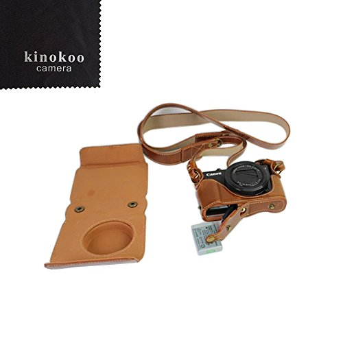 G7XII, Brown Hihouse Ancient Style Minimalist Fashion Waterproof Leather Camera Case Cover Shell Bag Protector for Canon G7X G7XII G7X Mark II