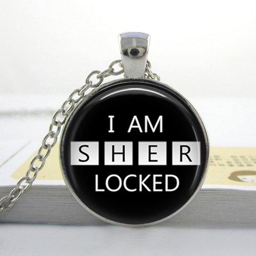 Pretty Lee Free Shipping Photo Glass Cabochonsherlock Jewelry Sherlock Holmes Pendant Black White Glass Dome Art Necklace