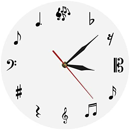 The Geeky Days Musical Notes Wall Clock Personalized Music Sign Modern Simple Watch Time Wall Clock Round Shape Creative Art Wall Decor Unique Gift For Music Lover Home Kitchen Amazon Com
