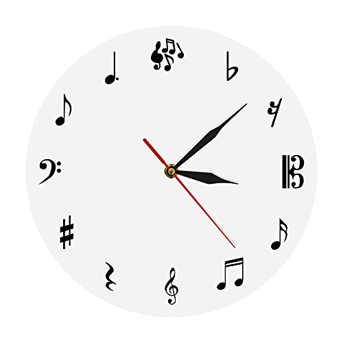 (The Geeky Days Musical Notes Wall Clock Personalized Music Sign Modern Simple Watch Time Wall Clock Round Shape Creative Art Wall Decor Unique Gift for Music Lover)