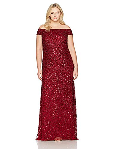 Adrianna Papell Women's Plus Size Off The Shoulder Crunchy Bead Gown, Cranberry, 14W