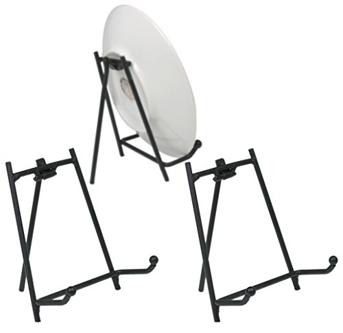 Black Display Stand - Set of 3 Metal Easels - Wrought Iron Plate Stand - Picture Stands - 3.5 Inch High