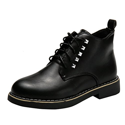 ENMAYER Womens Black PU Material Rivets Lace-up Round Toe Sp