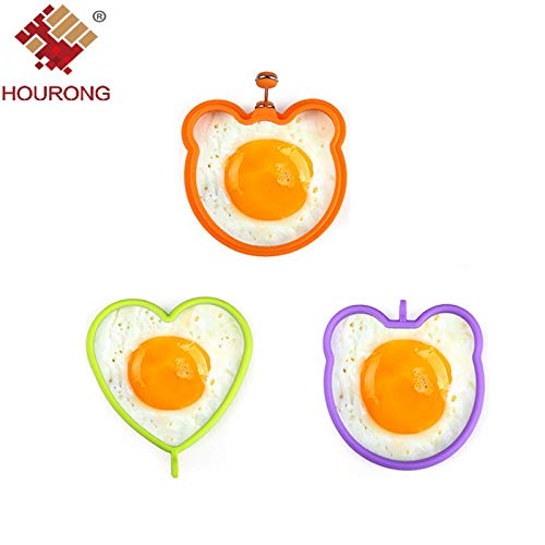 HOUORNG 1Pc Silicone Egg Mold Flower Heart Car Owl Fried Egg Pancake Rings Non-stick Egg Cooking Cozinha Tool Kitchen ()