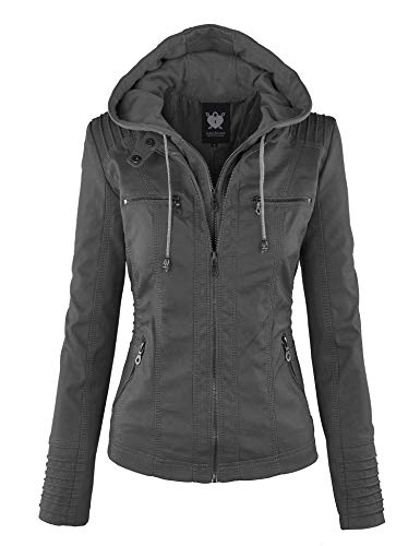Lock and Love LL WJC663 Womens Removable Hoodie Motorcyle Ja