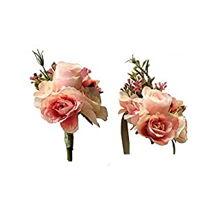 MARJON Flowers Artificial Rose Flower Boutonniere Corsage Set Handmade Floral Silk Fabric for Grooms Groomsmen Bridal Bridesmaids Prom Party Wedding Decor, Pink 84