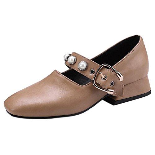 Coolcept Zapatos de Tacon Ancho Bajo para Mujer apricot
