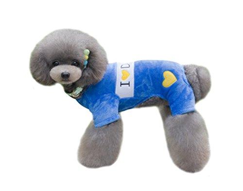 Freerun Autumn & Winter Soft Coral Fleece Small Dog Clothes Pet Puppy Costume - Blue, XL