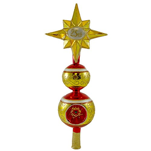 Christopher Radko TIP TOP CELEBRATIONS Glass Christmas Finial Tree (Radko Glass Tree Topper)