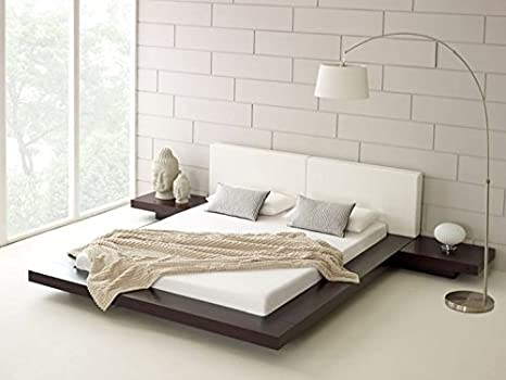 d54370425159 Hekami interiors Low Height King Size Bed with Side Tables (Without  Storage) (White high Gloss + matt Dark walut)  Amazon.in  Home   Kitchen