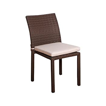 Atlantic Liberty Stackable Chairs (Set of 4)  Perfect for Indoors/outdoors  Best Dark Brown Wicker w/ white cushions included.
