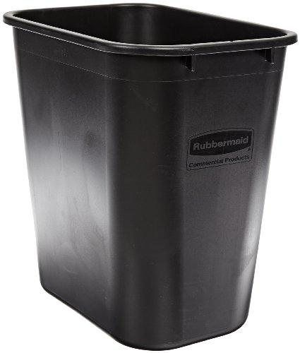 "Rubbermaid Commercial FG295600BLA Plastic Deskside Wastebasket, 28-1/8 qt Capacity, 14-3/8"" Length x 10-1/4"" Width x 15"" Height, Medium, Black"
