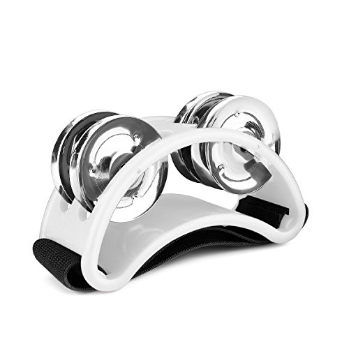 (Flexzion Foot Tambourine Percussion with Double Row Steel Jingles - Foot Shaker Musical Instrument Drum for Kids KTV Party Shoes Toy Gift Singer Vocalists Cajon & Guitar Players (White))