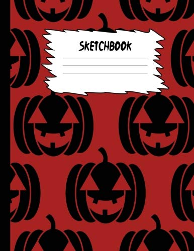 Sketchbook: Halloween Sketch Book for Kids: Purple & Black Pumpkin Face Large Drawing Paper with 80 Pages (8.5