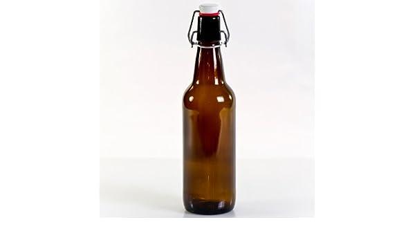 Glastop 0,5 litros Botellas marrón Reutilizables de Cristal ...