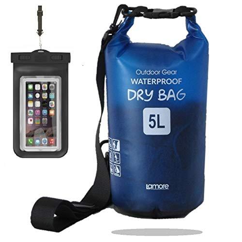 笑顔一番【2020版】 半透明 軽量 柔らか 防水バッグ ドライバッグ 5L 10L 20L [スマホ 用 防水ケース セット] プールバッグ ビーチバッグ ドラム型 アウトドア プール dry bag 【笑顔一番】[A323]