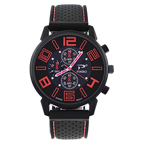 Loweryeah Men Silicone Large Dial Car Line Strap Silicone Watch 27cm (Black Red)
