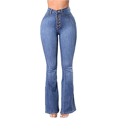 ors Bell Bottom High Waisted Fitted Flared Trendy Light Denim Jeans Pants(M,Light Blue) ()