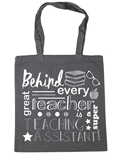 Graphite A Tote Assistant HippoWarehouse Behind Shopping Gym Every Bag 42cm Teacher Is Super 10 litres Teaching x38cm Grey Great Beach pUzXpF