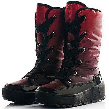 Nylon Pelusas Botas Zapatos Azul amp;Amp; EU36 Para A La Mujer De Rodilla Nieve Botas Invierno Botas US6 Forro Trabajos Otoño Rojo De Esquí De Seguridad De UK4 CN36 Altas Terciopelo Zapatos RTRY Intemperie Pqx48wI8Z