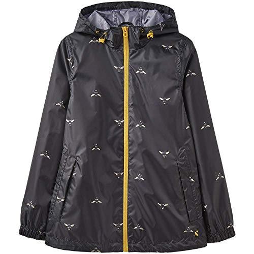 Joules Women's Golightly Short Waterproof Packaway Rain Jacket (Black Bees, ()
