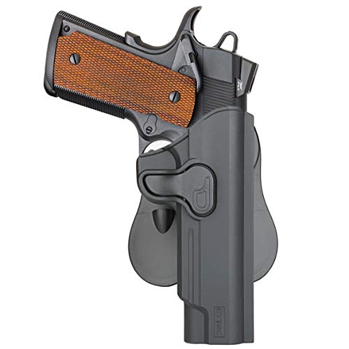 1911 5-Inch Paddle Holster with Trigger Release & Adjustable Cant, Outside the Waistband Pant Holster for Colt 1911 5'', Girsan 1911 MC, Variants 1911, Browning Mark III etc -Microfiber Cloth Included